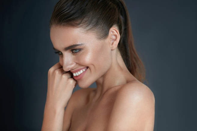 Beautiful Happy Woman With Fresh Makeup On Beauty Face. Skincare